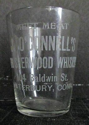 J OConnells Sherwood Whiskey Waterbury CT Acid Etched Pre-Prohibition Shot Glass