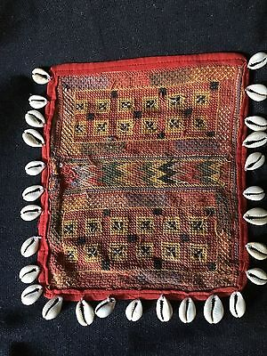 Antique Indian textiles. Vintage Gala with cowrie shell. Early 20th century.