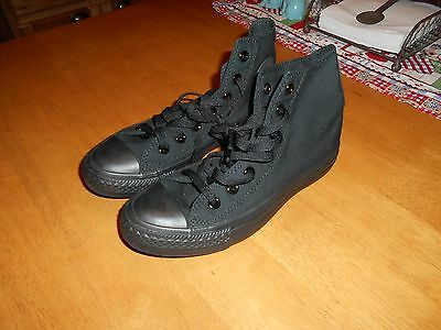 All Black Converse All-Star Chuck Taylor Hi-Top Unisex Sneakers, Size W 6 or M 4