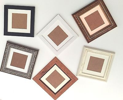 Bargain Bulk Square Glass  Picture Photo Frames &  REMOVABLE mount Wood Effect