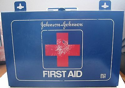 Vintage Johnson & Johnson First Aid Kit Blue Metal Box with Supplies 8161 USA