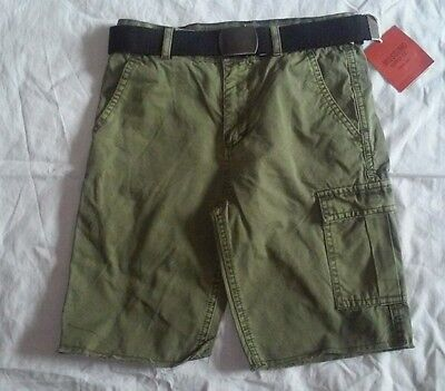 NWT MOSSIMO Boys cargo shorts with belt-Olive/Army green-Size 8