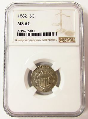 1882 SHIELD NICKEL COIN 5c NGC MS62