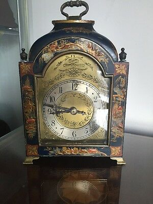 Beautiful Antique Blue Chinosiere Lacqured Mantle Clock @ 1900