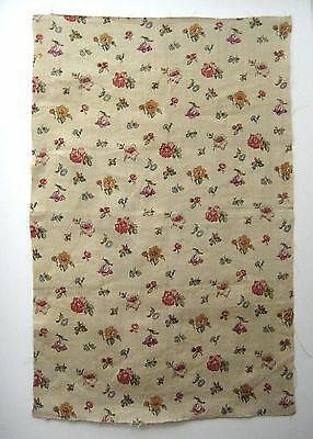 Vintage 1930's French Floral Linen Print Fabric (9442)