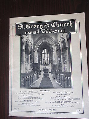 ' St.george's Sheffield Parish Magazine ' Vintage Ww2 Local Mag Dated May 1940