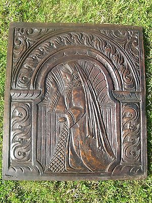 19th century english deeply carved oak wooden panel.from chest or coffer