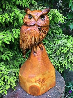 CHAINSAW CARVED HORNED OWL white pine WOOD CARVING RUSTIC LOG HOME DECOR