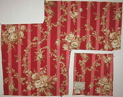 2 Pieces Antique 19th C. French Cotton Floral Toile Print Fabric (8567)