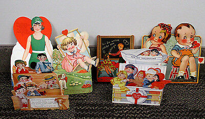 6 Vintage 1920's & 30's MECHANICAL AND POP-OUT STAND VALENTINE CARDS