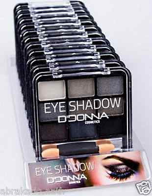 Lot 10 Palette De Maquillage Degrade Noir Gris 9 Tons + 1 Double Pinceau