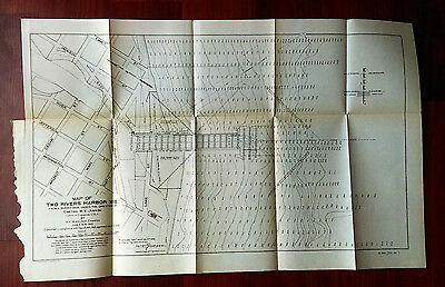 1905 Map Survey of Two Rivers Harbor Wisconsin Main St Lake St Walnut St