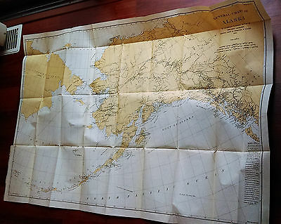1900 Central Chart Map of Alaska Shldon Jackson Reindeer Report