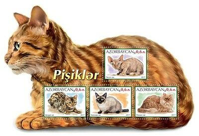 Azerbaijan - 2017 Cats on Stamps - 6 Stamp Sheet - AZRB17219a