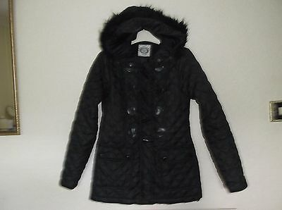 ladies black quilted hooded jacket,size 6,by New Look.