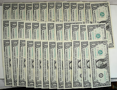 1969-D $1 Federal Reserve Notes, Lot Of 37, W/ 2 Long Consecutive Runs Ch Unc