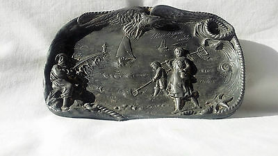 Antique Pewter Pin Tray Fishing Scene.
