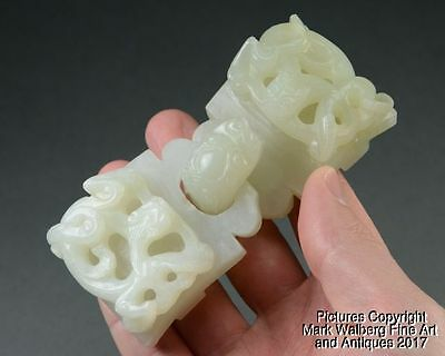 Chinese Nephrite White Jade Two Part Buckle, Chilongs & Dragon Head Hook, 18th C