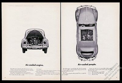1963 VW Volkswagen Beetle car with sunroof 2 photo Air-Cooled 20x13 print ad