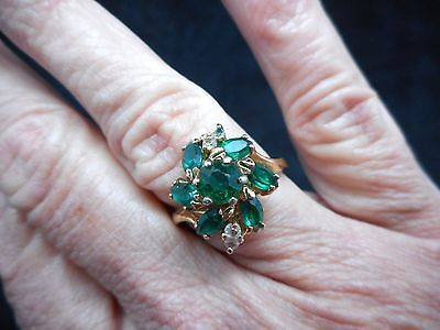 Authentic Vintage 1960's Green Rhinestone Cocktail Ring Size 8