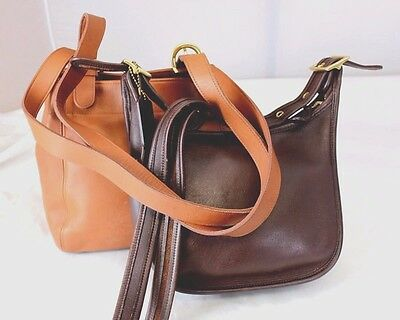Lot Authentic Vintage Coach Brown Leather Shoulder bag Tote w/ Brown Cross-body