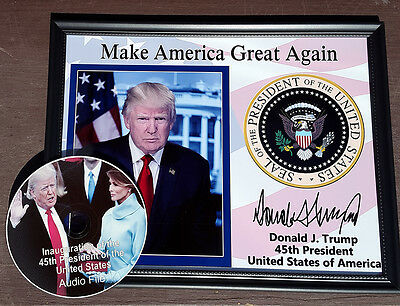President Donald Trump Presidential Seal Autograph 8.5x11 Photo Framed portrait