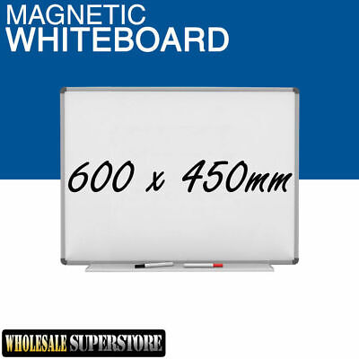 WHITEBOARD 600 x 450mm Magnetic Commercial Quality - Board Office Eraser Marker