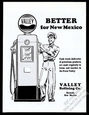 1945 Valley Refining Roswell NM gas pump service station attendant print ad