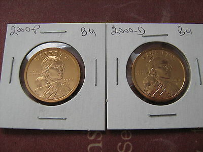 2000-PD SACAGAWEA GOLDEN DOLLARS (2) COINS FROM MINT SET #aa1