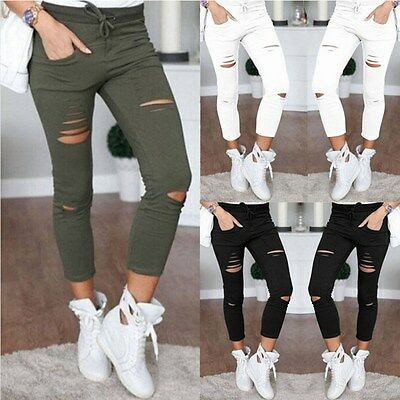 Women High Waist Cut Out Jeans Denim Skinny Ripped Trouser Slim Lace Pencil Pant