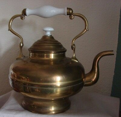 Nice Quality Antique Brass Tea Kettle with Swivel Porcelain Handle & Knob