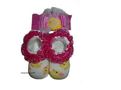Girl's Infant Easter Headwrap & Socks Baby Chick Set Size 0-12 Months