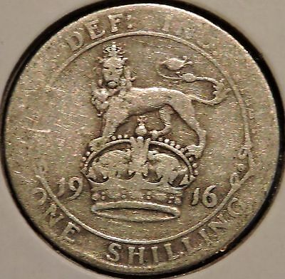 British Silver Shilling - 1916 - King George V - $1 Unlimited Shipping