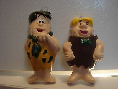 Vintage Flintstones Cartoon Hanging Wall Plaque Statue Figures Fred & Barney
