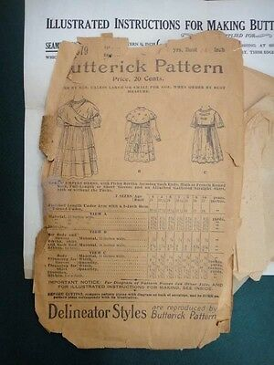 1899 antique BUTTERICK #9679 CHILD DRESS SEWING PATTERN~DELINEATOR STYLES