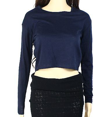 Top Shop NEW Navy Blue Cropped Women's Size 2 Long Sleeve Tee T-Shirt #869