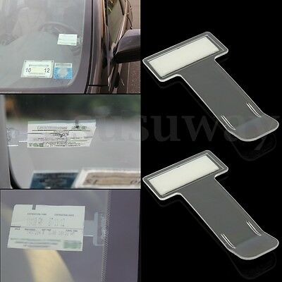 2Pcs Car Vehicle Parking Ticket Permit Holder Clip Windscreen Window Sticker Kit