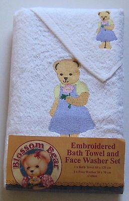 Blossom bear embroidered bath towel and face washer set NEW