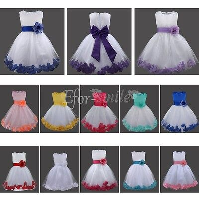 UK Petals Lace Baby Princess Bridesmaid Flower Girl Dresses Wedding Formal Party