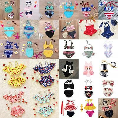 Baby Kids Girls Tankini Bikini Swimwear Bathing Beachwear Suit Multi-Choices Hot
