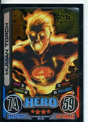Marvel Hero Attax Series 2 Foil Base Card #21 Human Torch