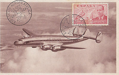1949 Uncommon Spain Zaragoza Aerophilately Exhibition Special Postcard   24*