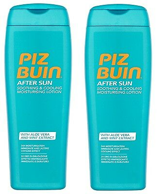 2X PIZ BUIN AFTER SUN Soothing& Cooling Moisturising Lotion With Aloe Vera 200ml