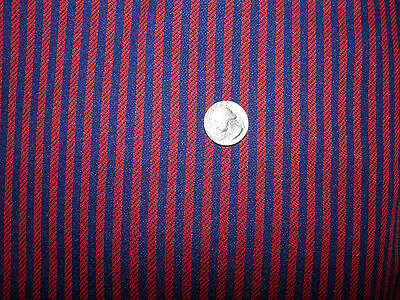 """1 2/3 Yards Vintage Double Knit Fabric - Red Navy Blue Stripe - 60"""" Wide"""