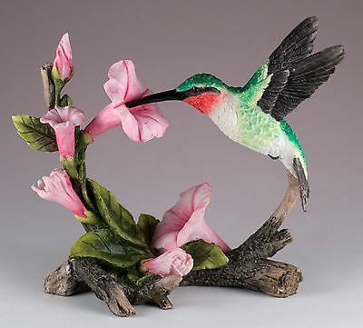 "Ruby Throated Hummingbird Bird Figurine 5.5"" Long Highly Detailed New In Box"