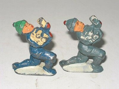 2 Vintage Barclay Or Manoil Man Boy With Firewood Lead Figures