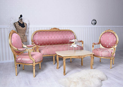 Lounge Suite Baroque Table And Chairs Salon Seating Furniture Sofa Set Luxury