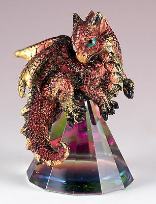 "Small Red/Gold Dragon On Pyramid Glass Figurine 3"" High Resin New In Box"