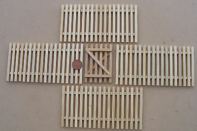 1:12 Scale Natural Finish Set Of 4 Picket Fence Pieces & Gate Dolls House Garden