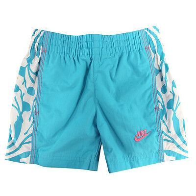 Nike Little Girls White Swimming Shorts Trunks Blue 218953 470 DD23